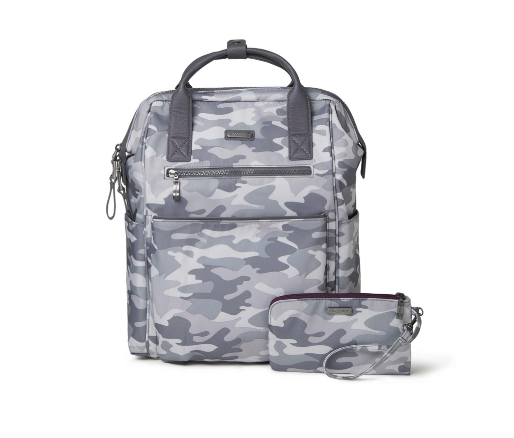 Baggallini Soho Backpack in Grey Camo