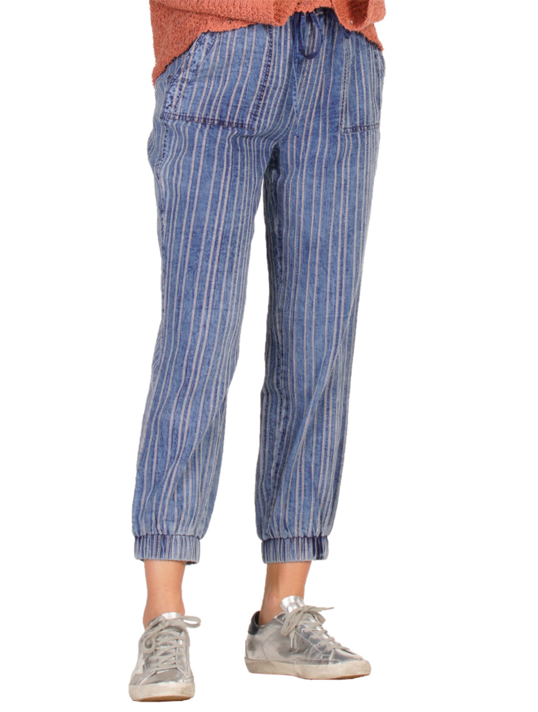 Elan Drawstring Pant in Metallic Stripe