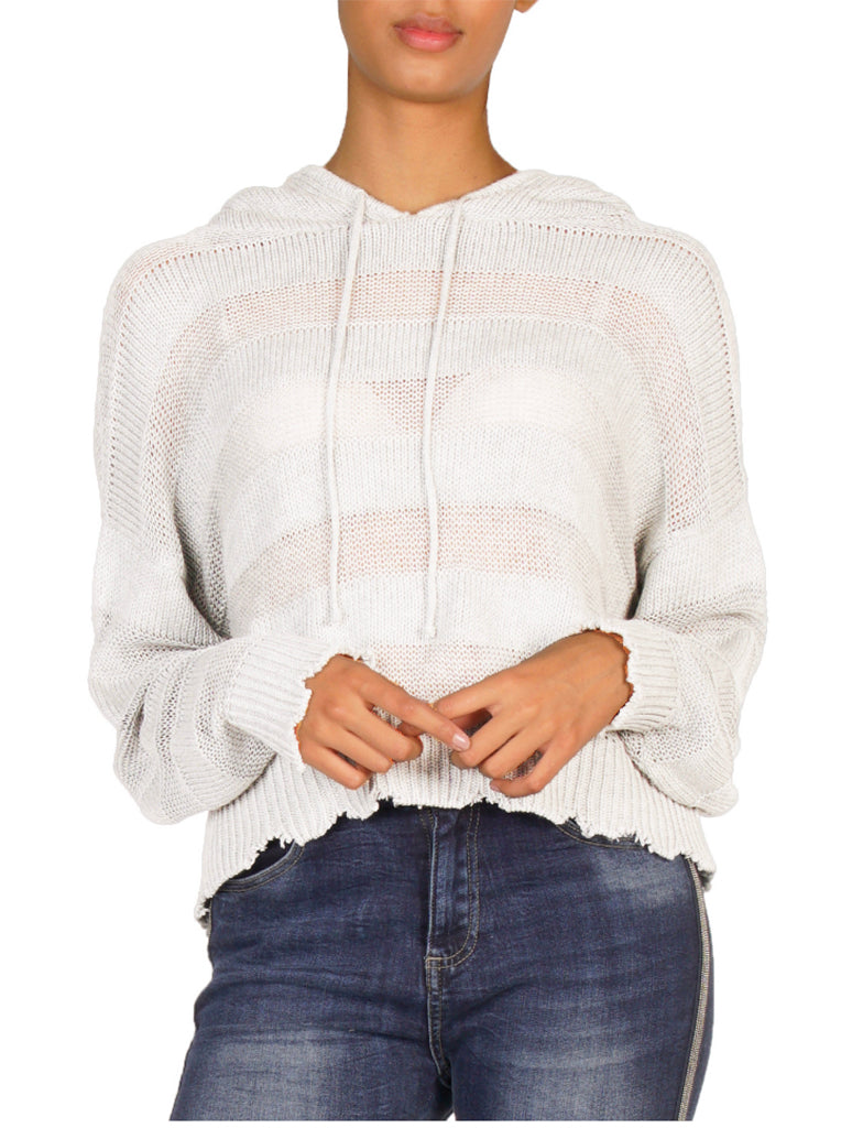 Elan Raw Bottom Open Weave Hoodie Sweater in White