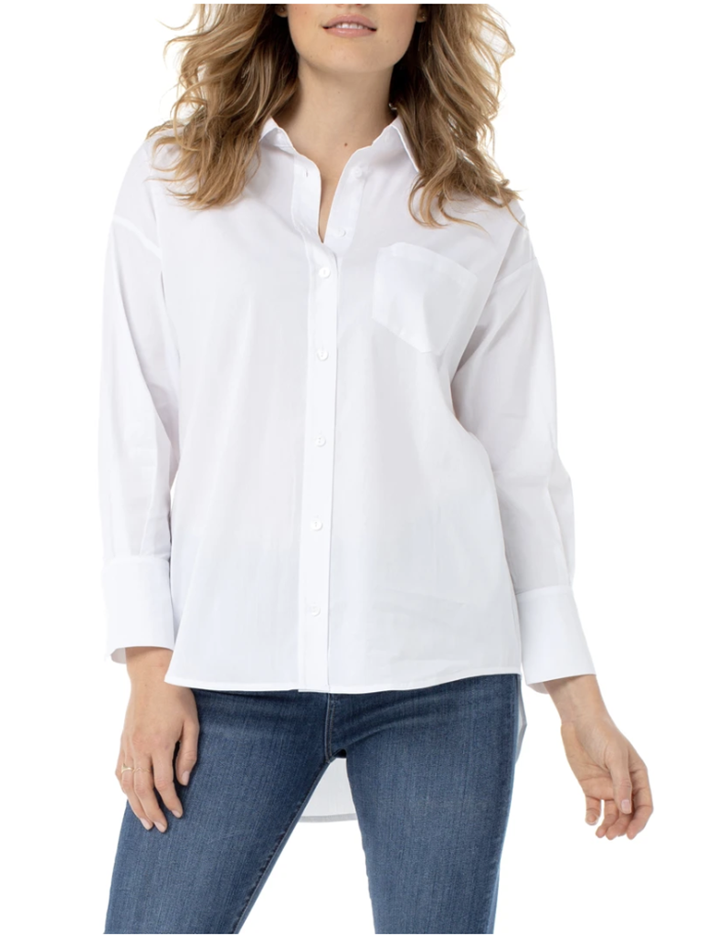Liverpool Oversized Classic Button Down in White