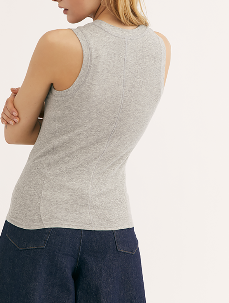 Free People U-Neck Tank in Grey