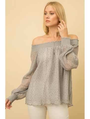 Mystree Lace Sleeve Top in Berry