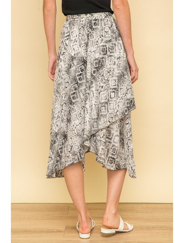 Mystree Wrap Skirt in Snake Skin