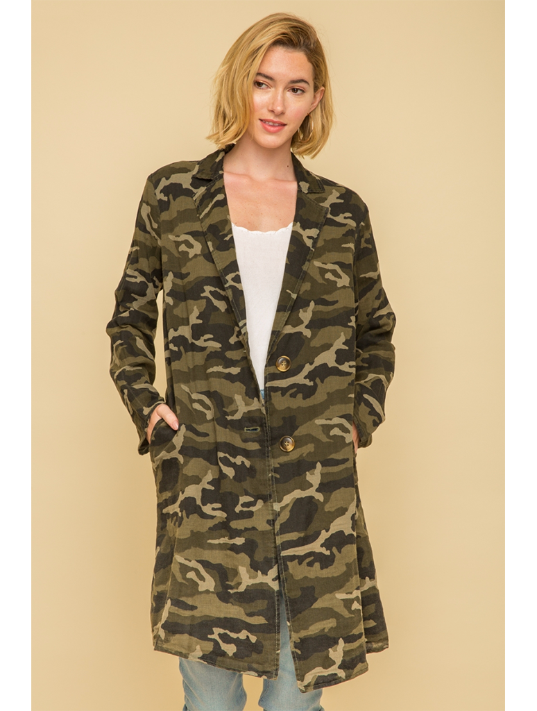 Mystree Acid Wash Camo Long Coat in Camo