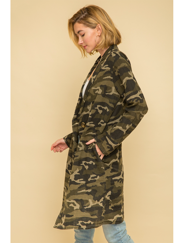 Mystree Acid Wash Camp Long Coat in Camo