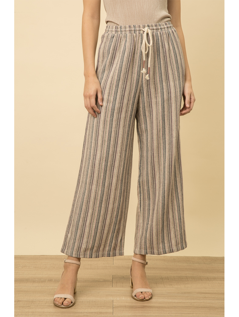 Mystree Stripe Pant Wide Leg Pant in Oatmeal/Purple