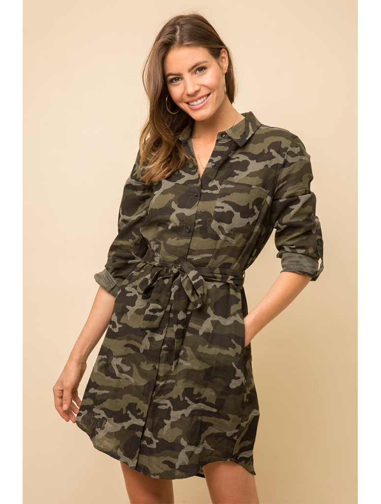 Mystree Camp Shirt Dress in Camo