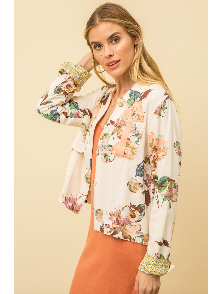 Mystree Floral Linen Jacket in Cream/Mauve