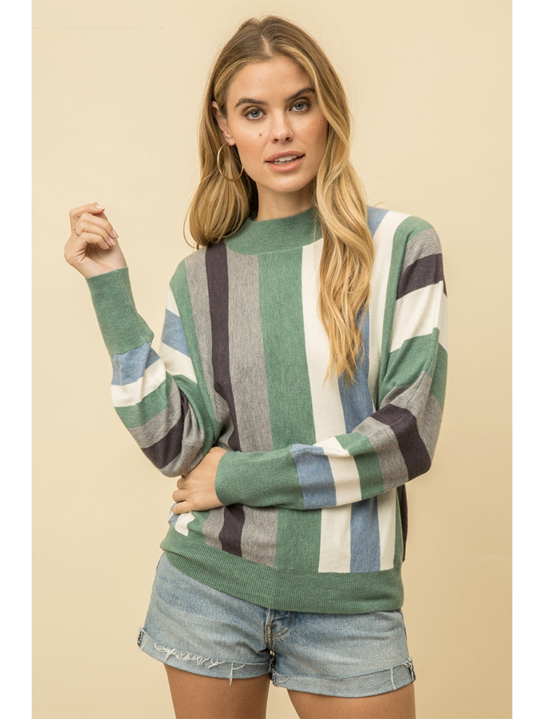 Mystree Color Mix Striped Sweater in Multi