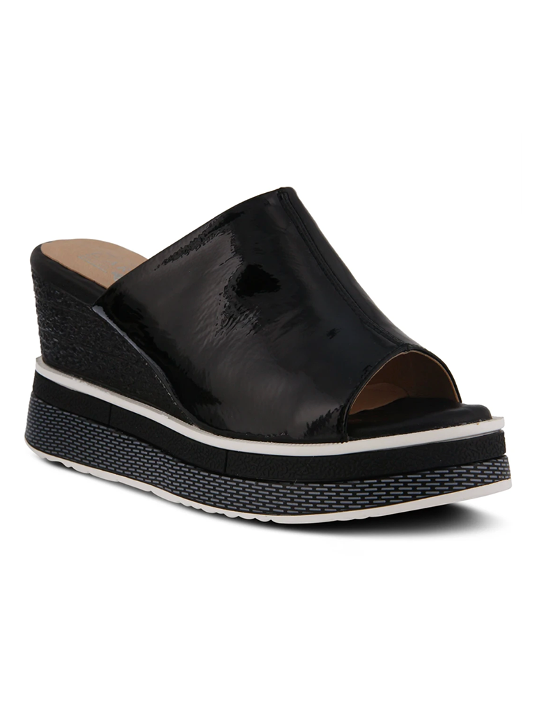 L'Artiste Alurrin High Platform Wedge Slide in Black Patent