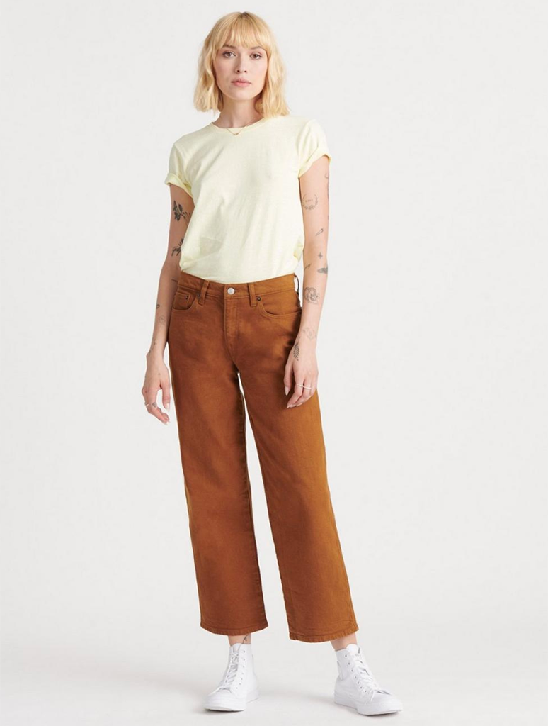 Lucky Brand Mid Rise Crop Wide Leg Jean in Cumin