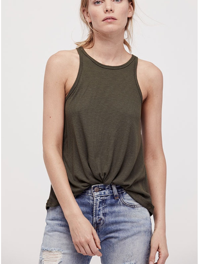 Free People Long Beach Tank in Army