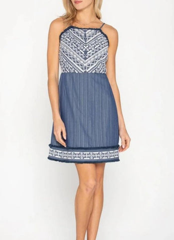 Free People Adella Lace Slip Dress in Navy