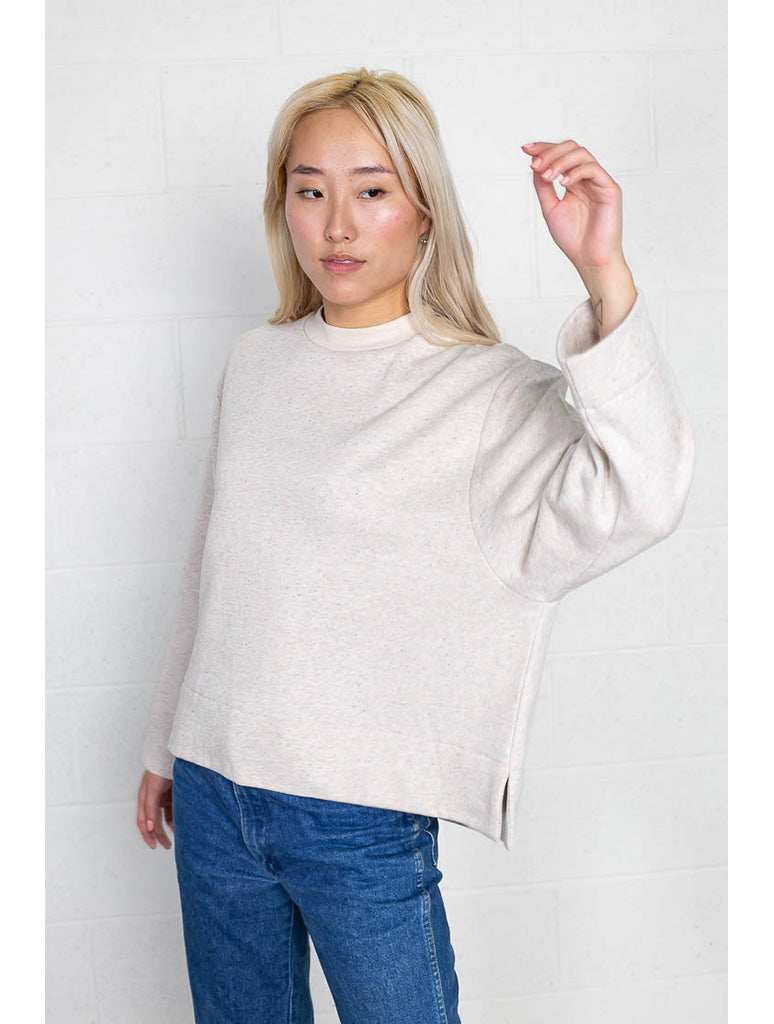 No Less Than NLT Speckle Sweatshirt in Stone