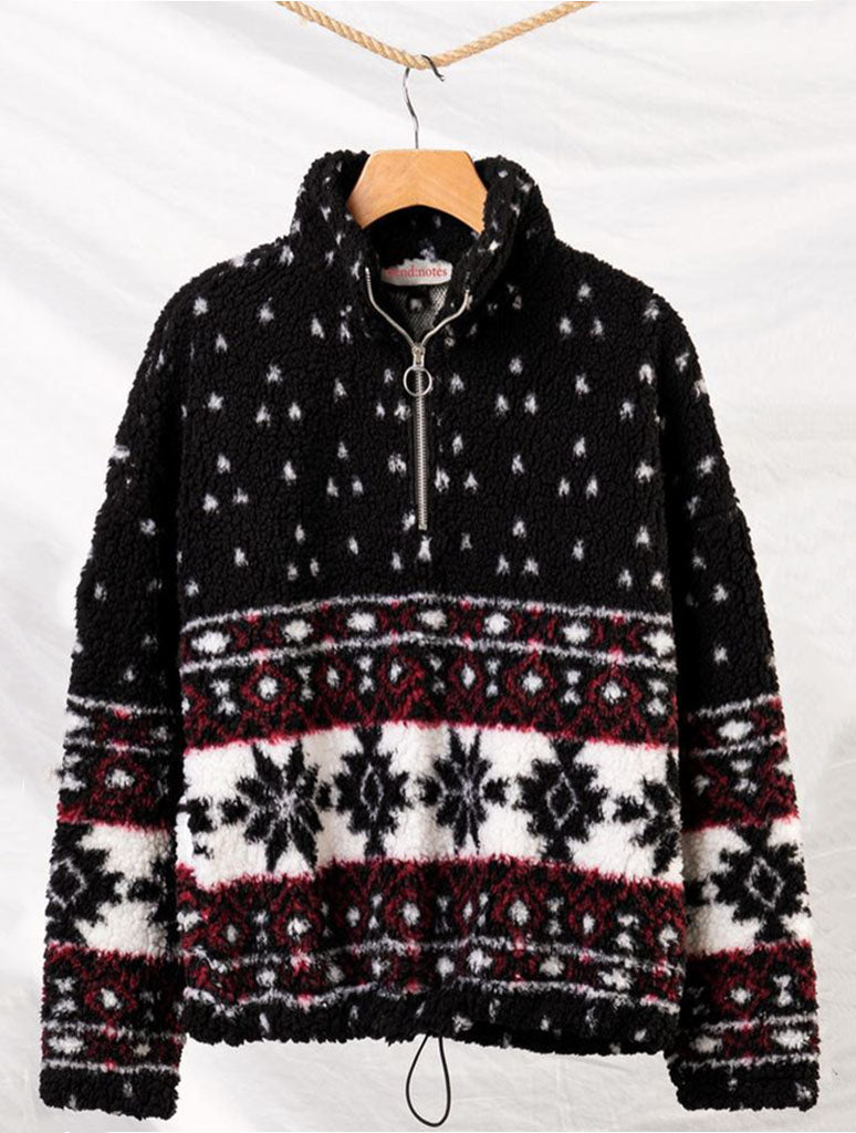 Trend Notes Snowflake Half Zip Sweater in Black