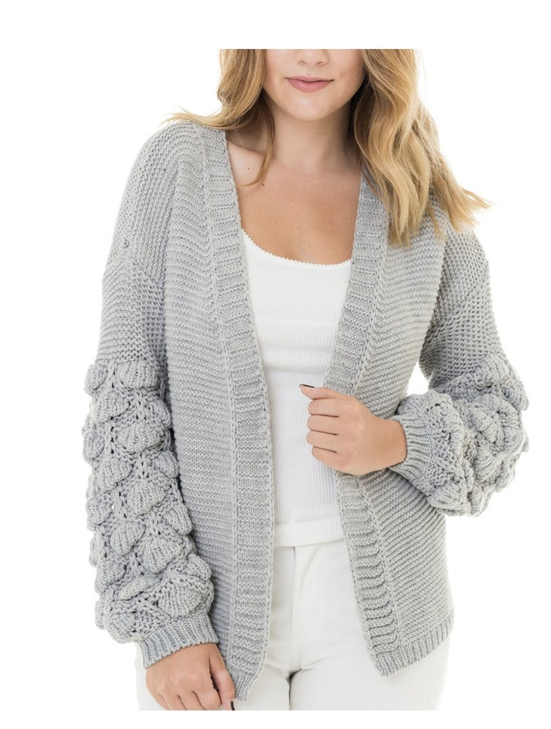 Woven Heart Popcorn Sleeve Cardigan in Gray