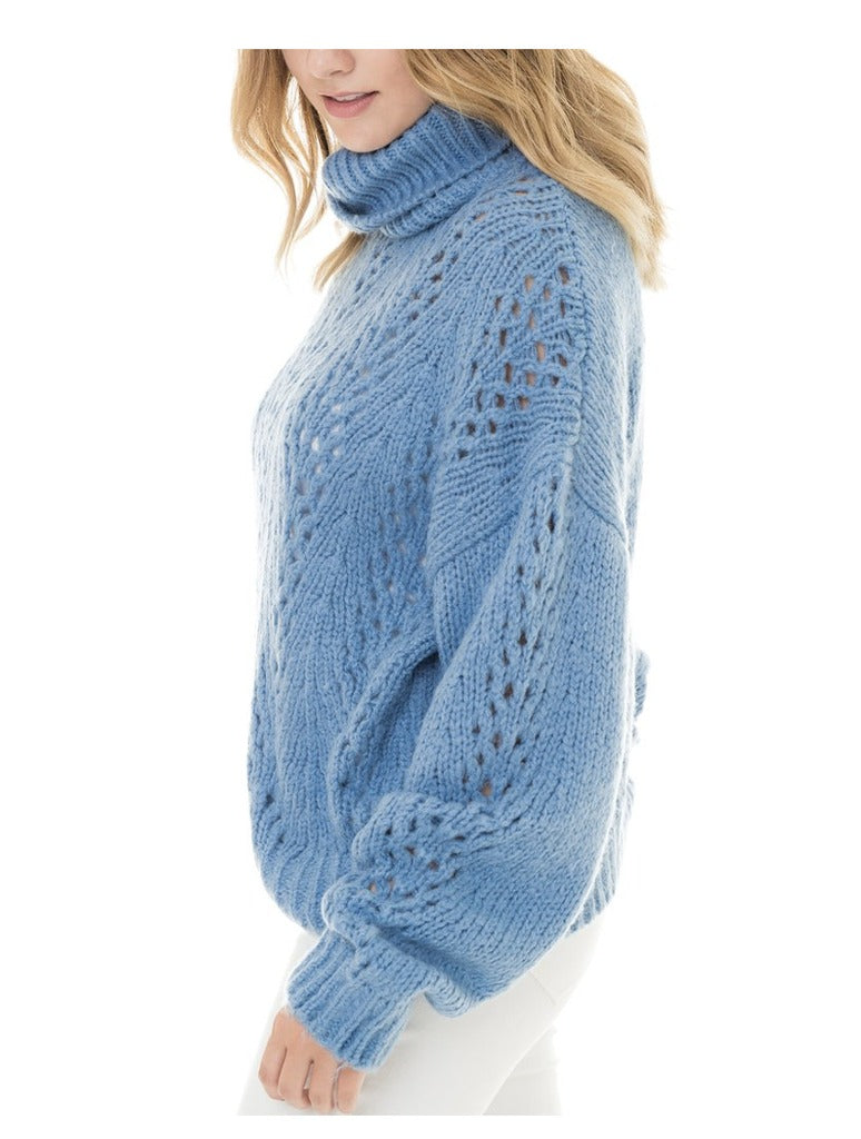 Woven Heart Slouchy Sweater in Blue
