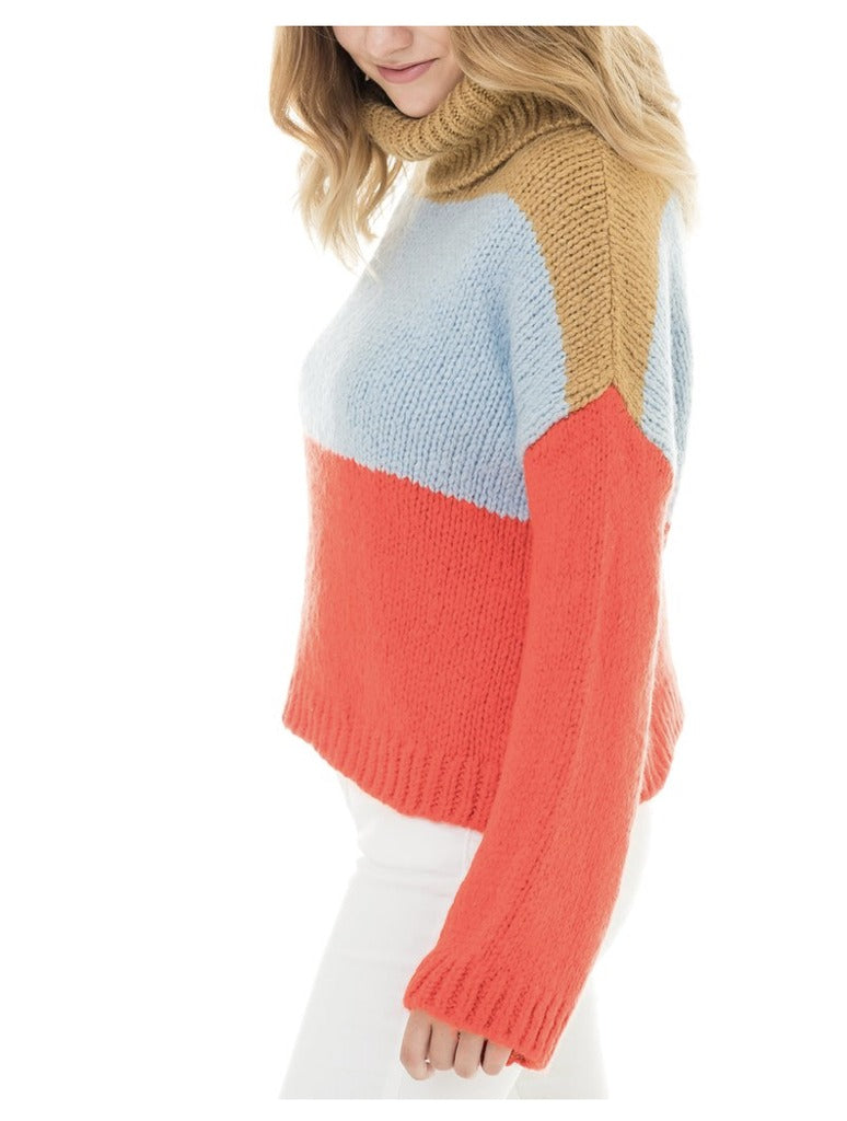 Woven Heart Stripe Sweater in Red Multi