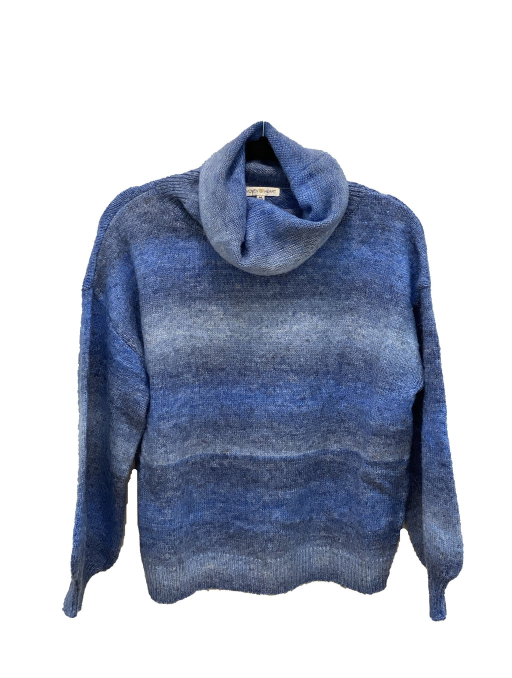 Woven Heart Woven Ombre Turtleneck in Blue