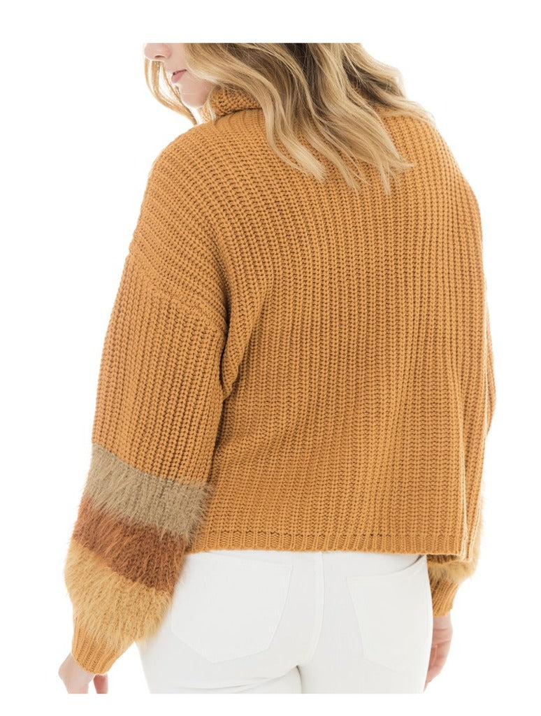 Woven Heart Striped Sleeve Sweater in Mustard