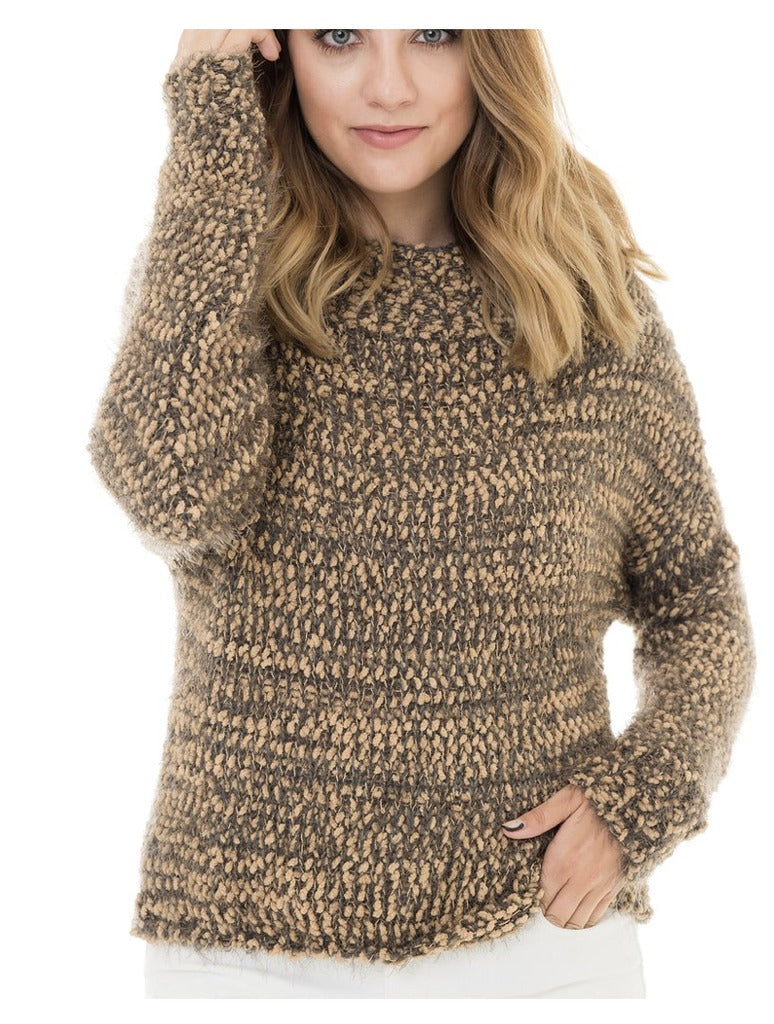 Woven Heart Marled Eyelash Sweater in Otter