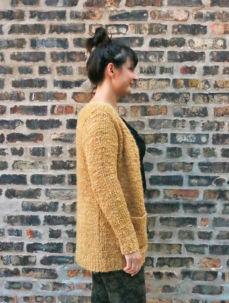 Woven Heart Fuzzy Cardigan Sweater in Mustard