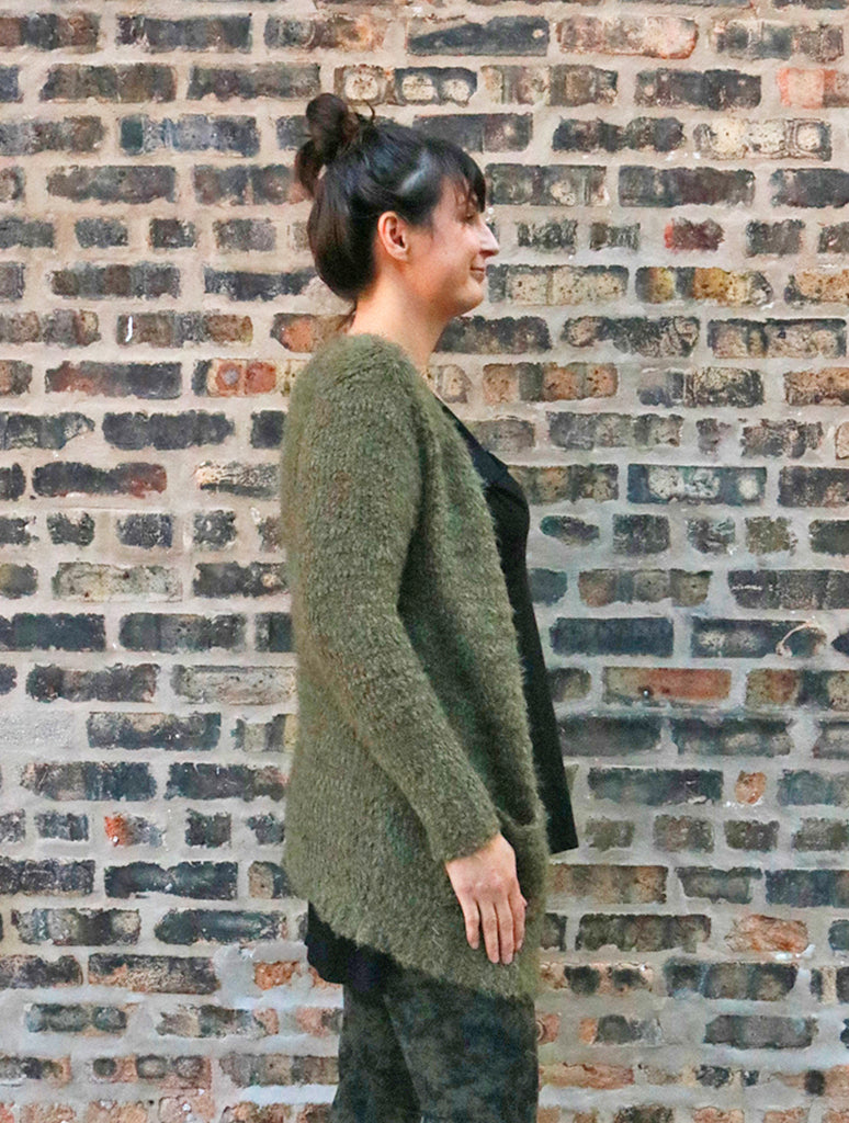 Woven Heart Fuzzy Cardigan Sweater in Olive