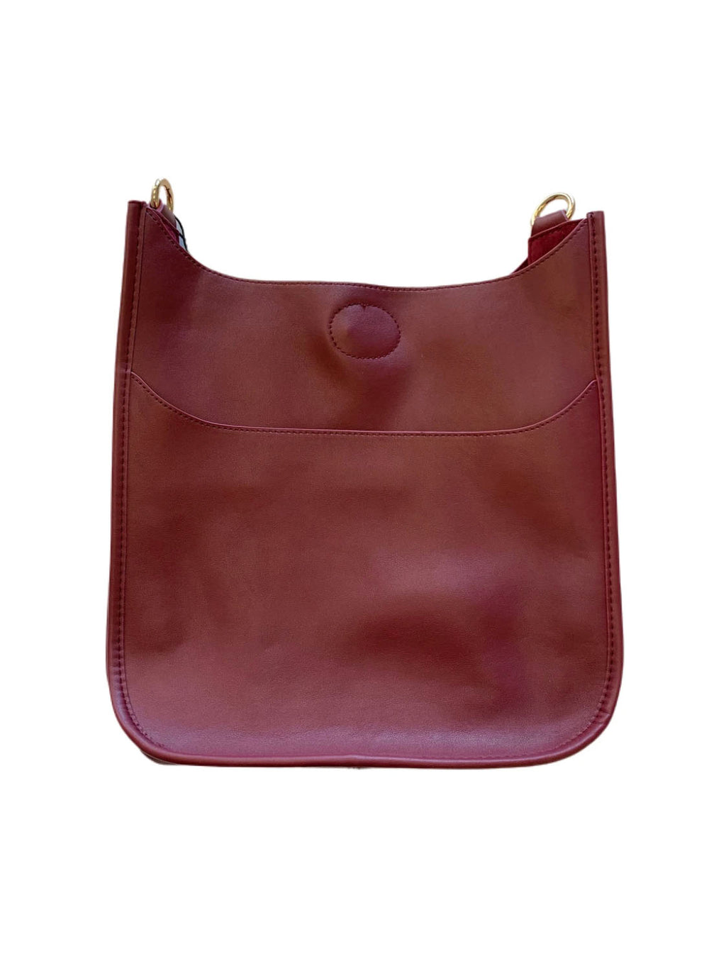 Ahdorned Faux Leather Large Messenger Bag in Burgundy- No Strap!