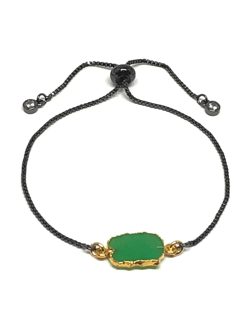 Athena Designs Pull on Bracelet in Green Onyx