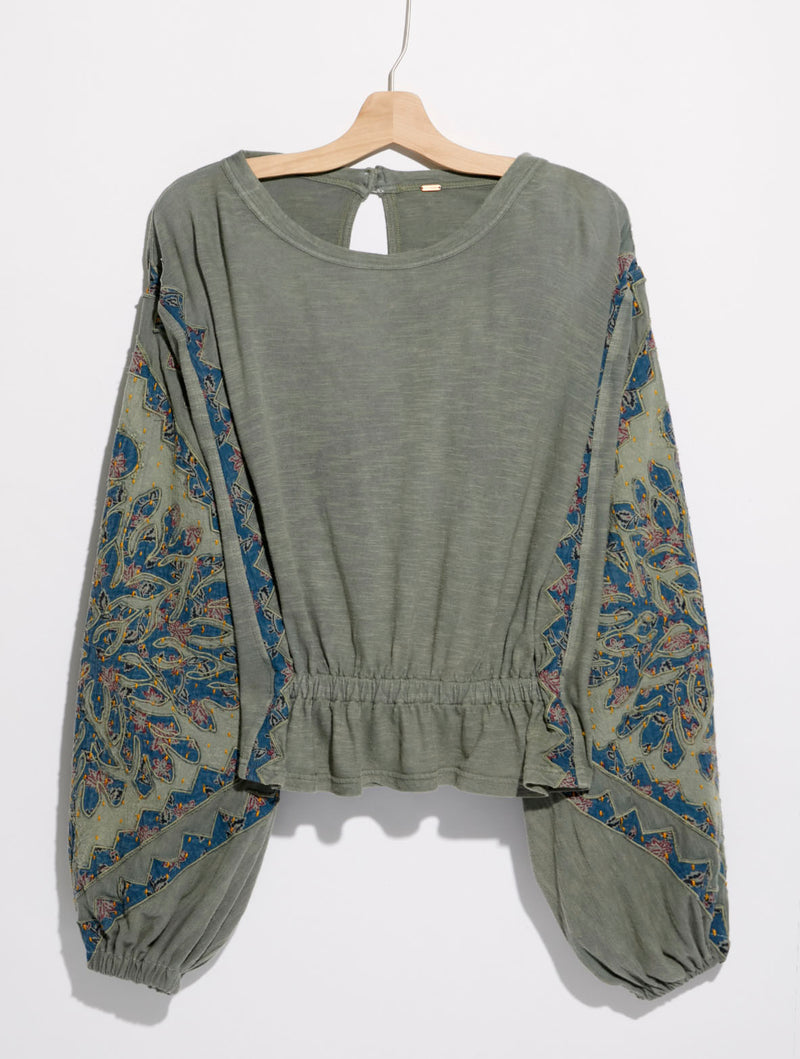 Free People Throwback Top in Pine Tree