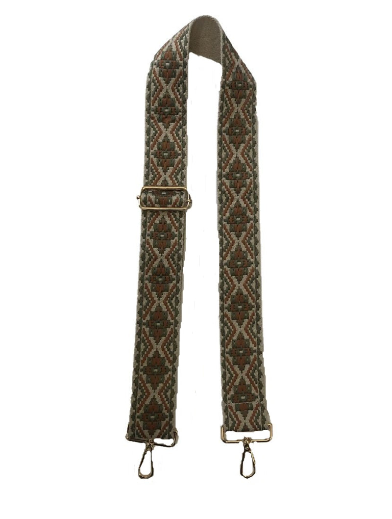 "Ahdorned 2"" Medallion Bag Strap in Camel/Sage"