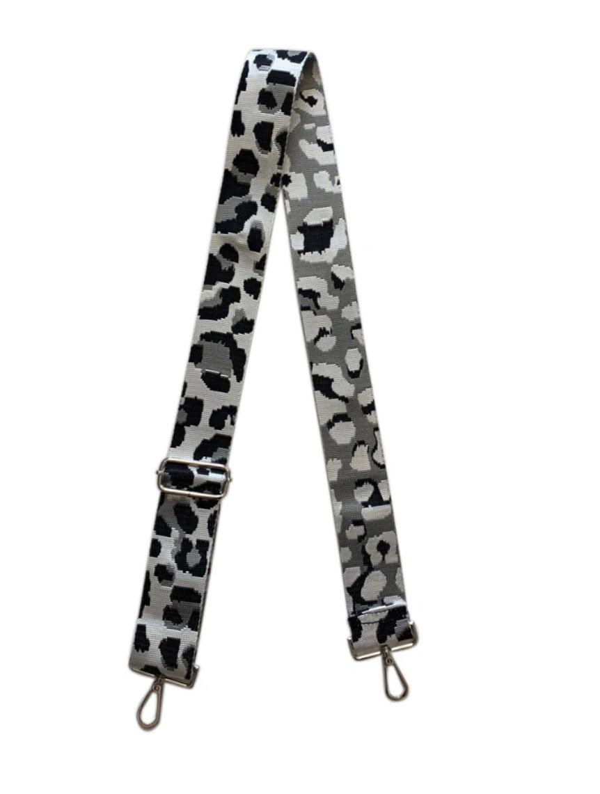 "Ahdorned 2"" Bag Strap in Silver Leopard"