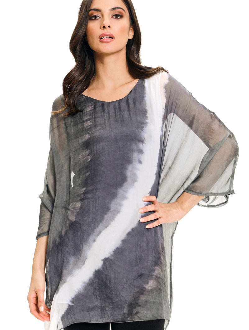 Adore Dip Dye Poncho in Grey
