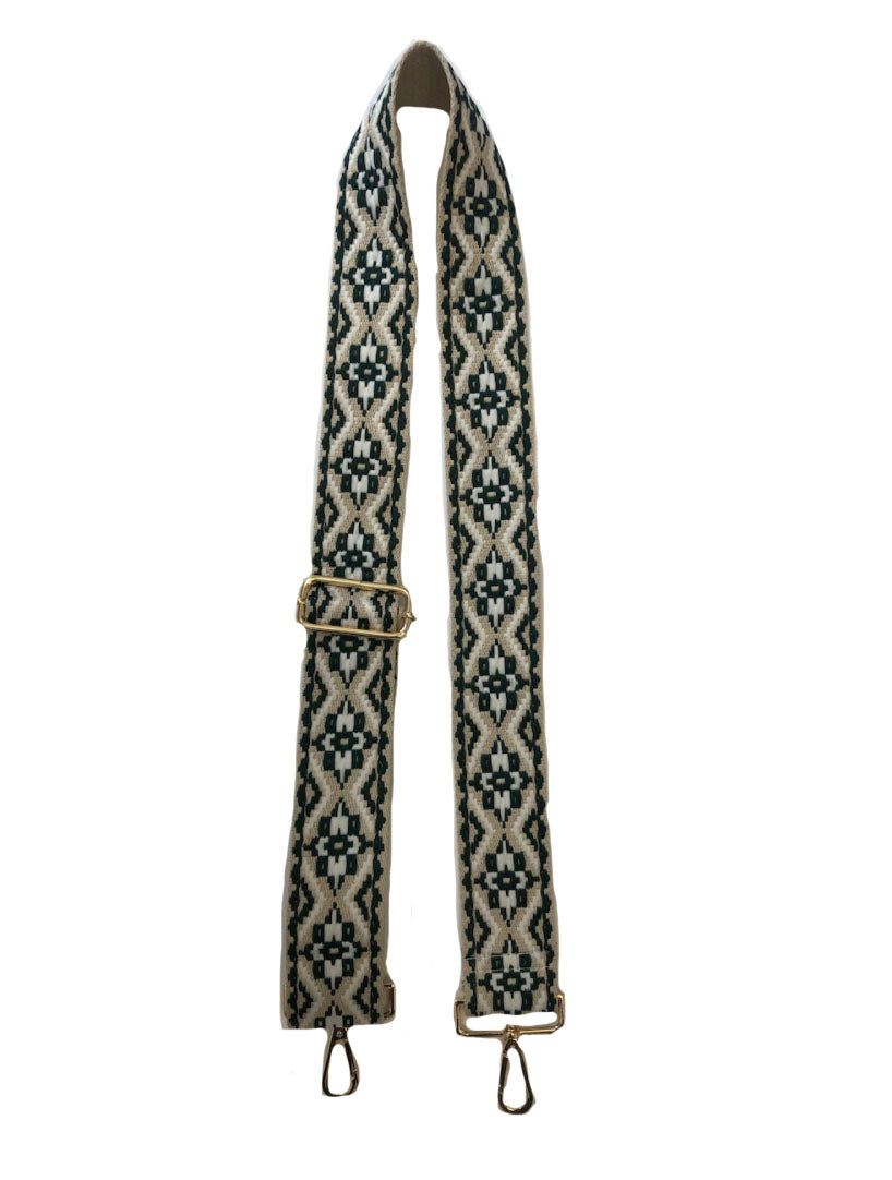 "Ahdorned 2"" Bag Strap in Olive/Cream Medallion"