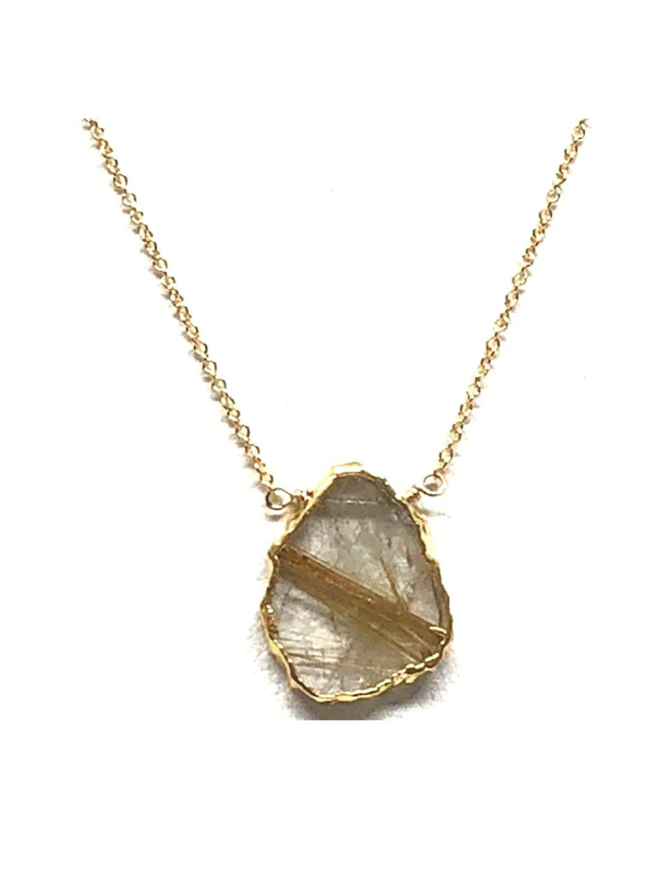 Athena Designs Rose Quartz Pendant in Gold