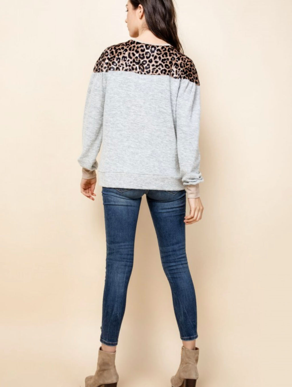THML Crew Neck Sweater in Heather Grey with Orange Leopard