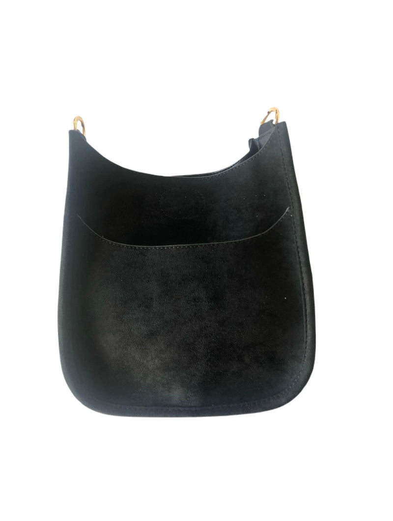 Ahdorned Mini Vegan Suede Messenger Bag in Black--No Strap!
