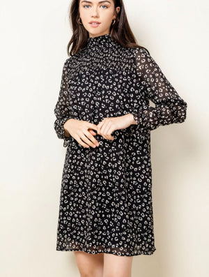 THML Smocked Neck Dress in Black