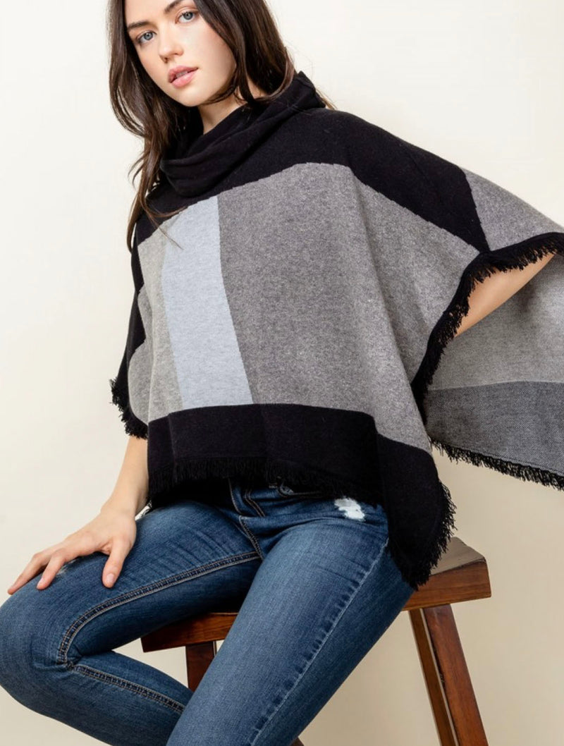 THML Block Poncho in Black