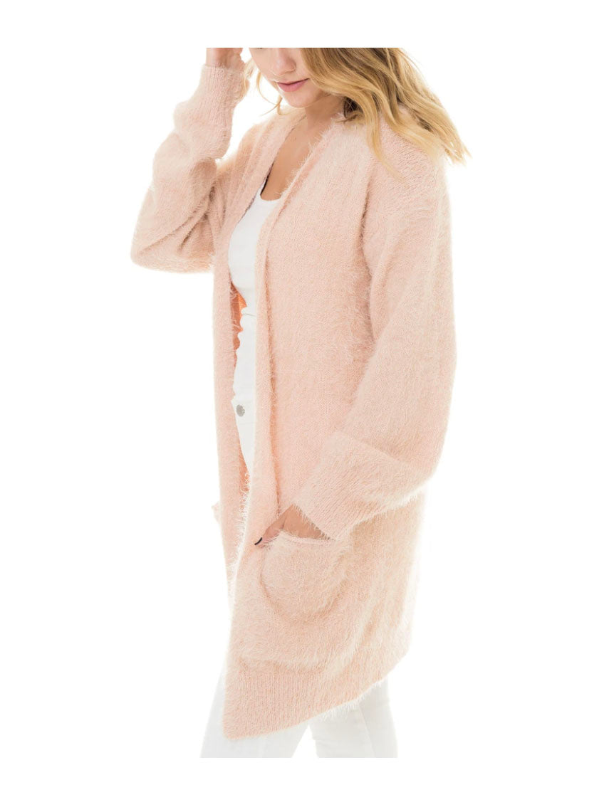 Woven Heart Eyelash Cardigan in Blush
