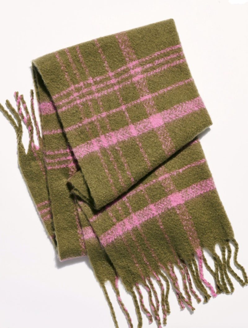 Free People Brushed Plaid Scarf in Olive Combo