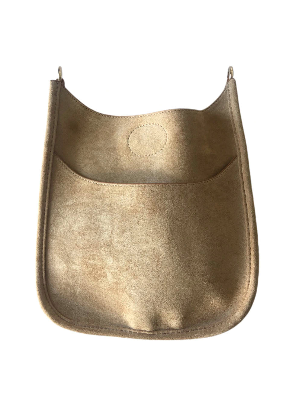 Ahdorned Mini Vegan Suede Messenger Bag in Camel--No Strap!