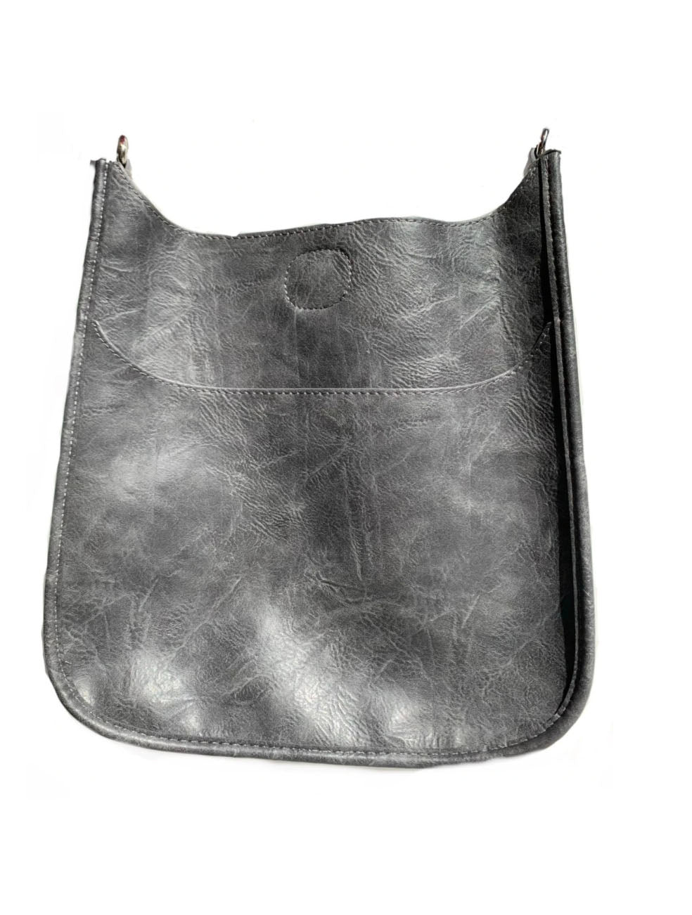 Ahdorned Faux Leather Large Distressed Messenger Bag in Grey