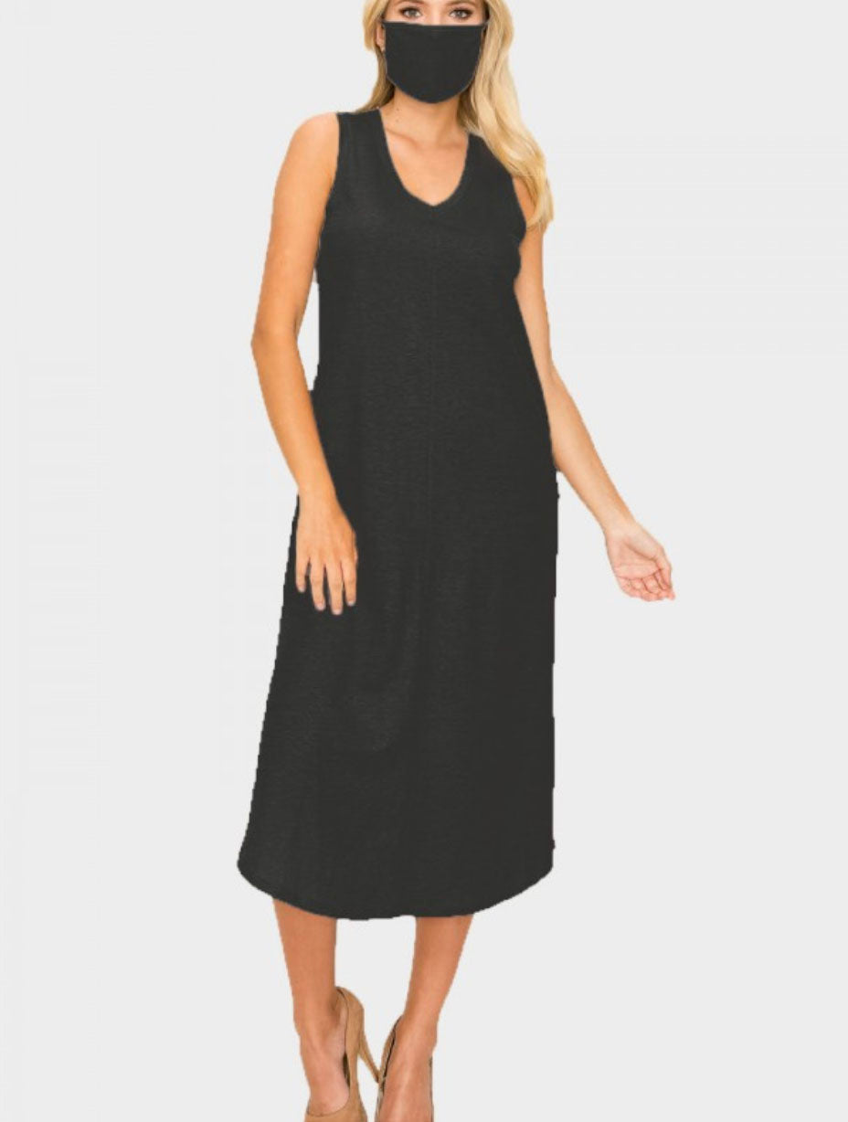 Coin 1804 V-Neck Midi Dress in Black