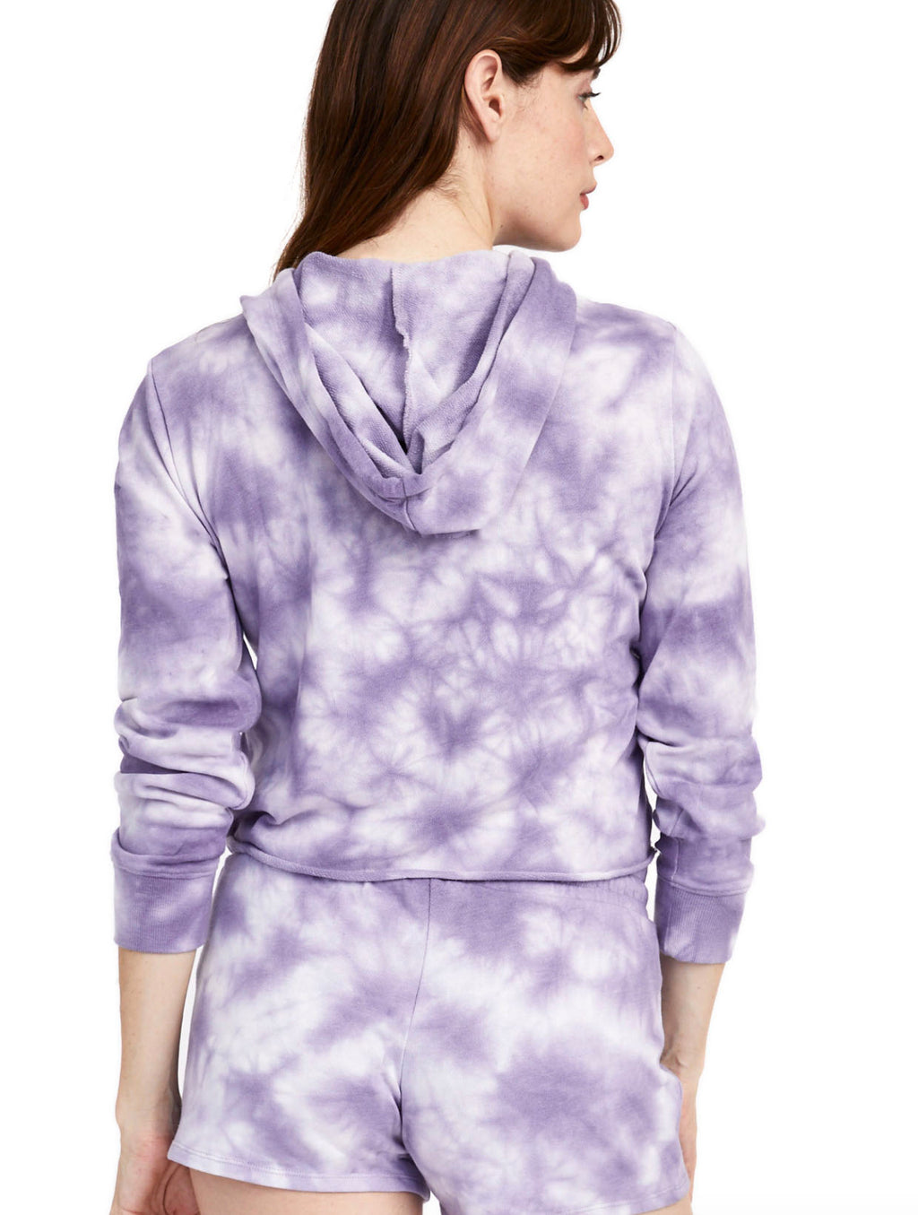 Alternative Apparel Cropped Hoodie in Purple Tie Dye