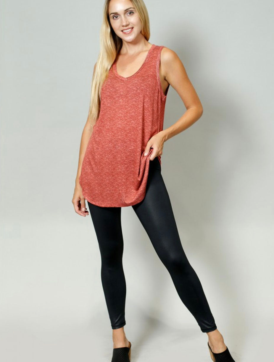 Coin 1804 V-Neck Tank in Brick