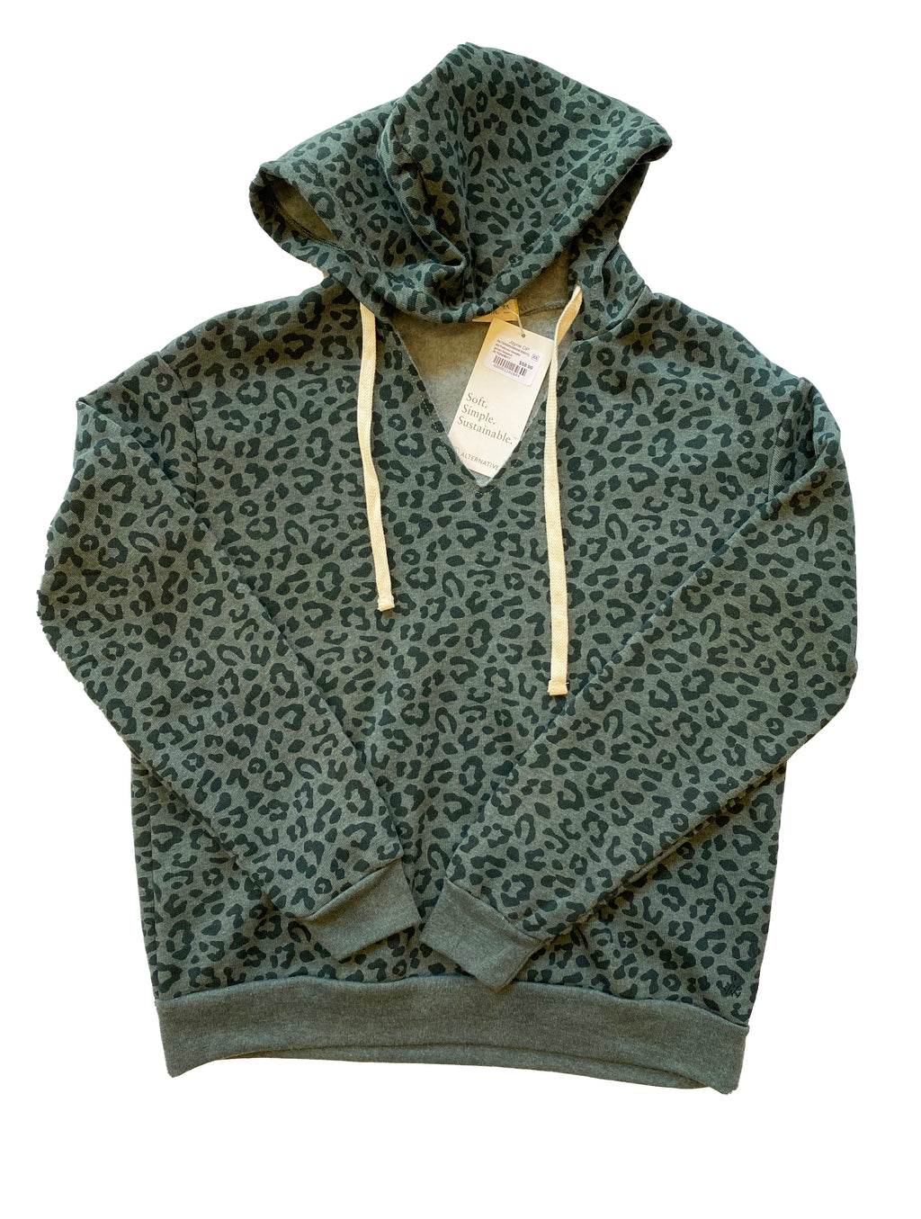 Alternative Apparel Pullover Hoodie in Green Leopard