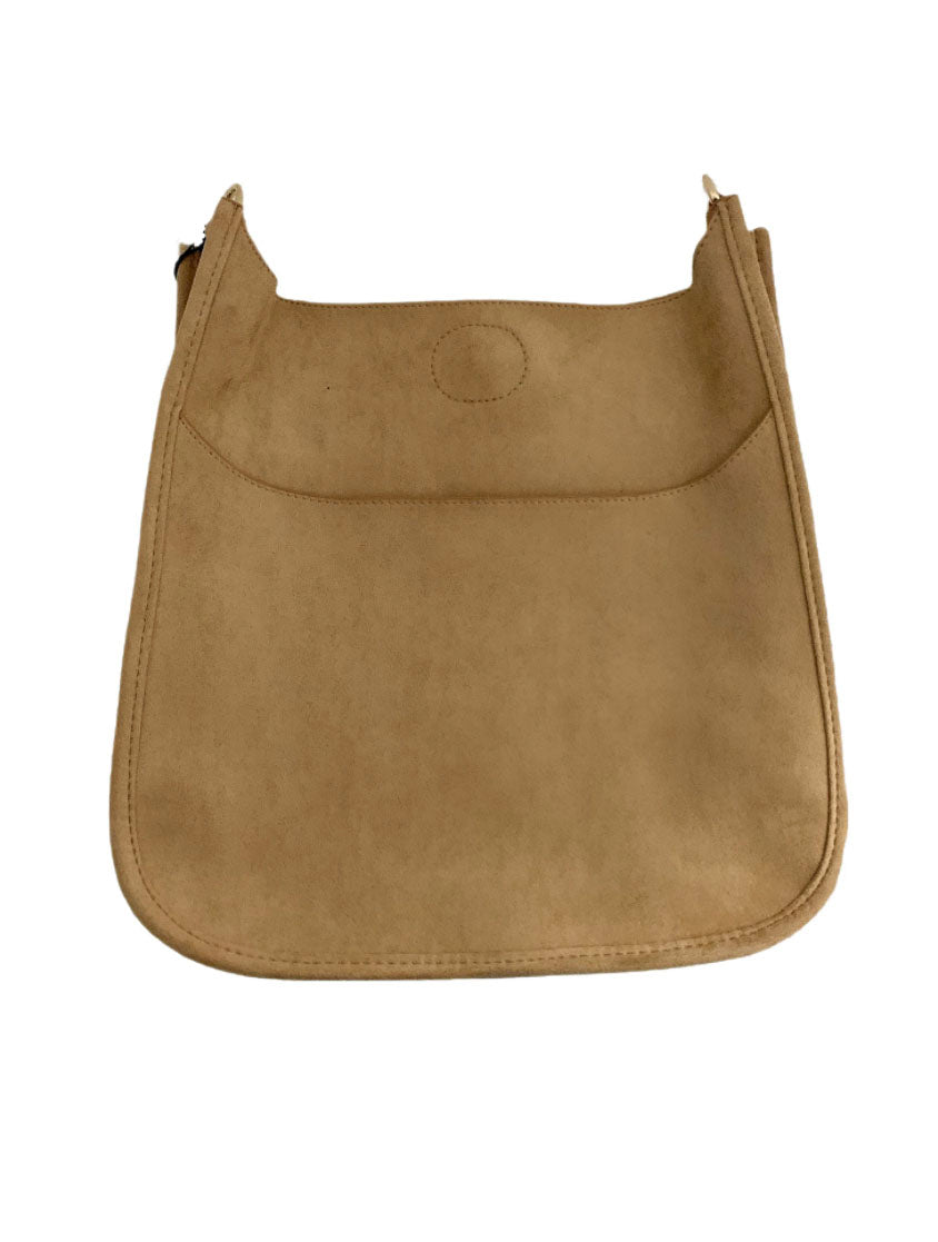 Ahdorned Large Suede Messenger Bag in Camel-No Strap!