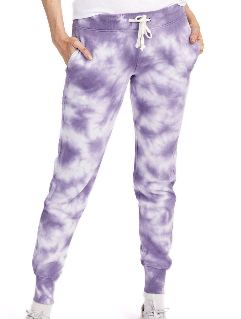 Alternative Apparel Terry Jogger in Purple Tie Dye