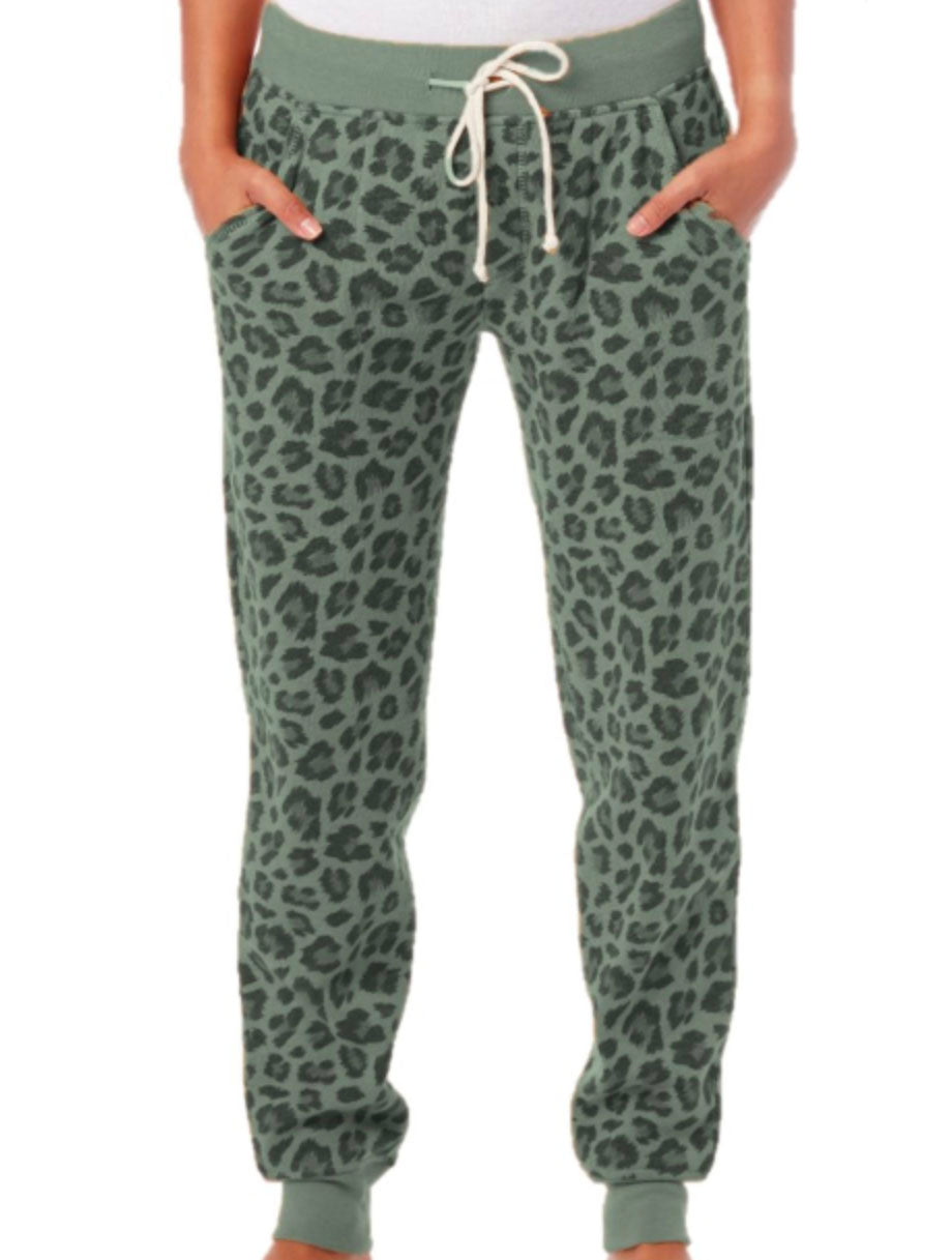 Alternative Apparel French Terry Jogger in Green Leopard